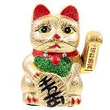 KERAMIK Glückskatze 21cm Winkekatze Maneki Neko ~ GOLD ~ Feng Shui Glücksbringer