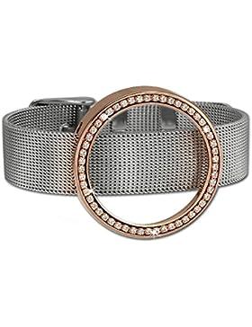 Amello Damen Coin Edelstahl Armband Mesh und Coinfassung rose mit Zirkonia - Edelstahlarmband für Edelstahl Coins...