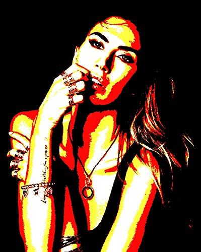 Melissa Satta–Bild moderne handbemalt–Pop Art Effect (Format 50x 60cm) (Streifen Berühmte Shirts Stars)