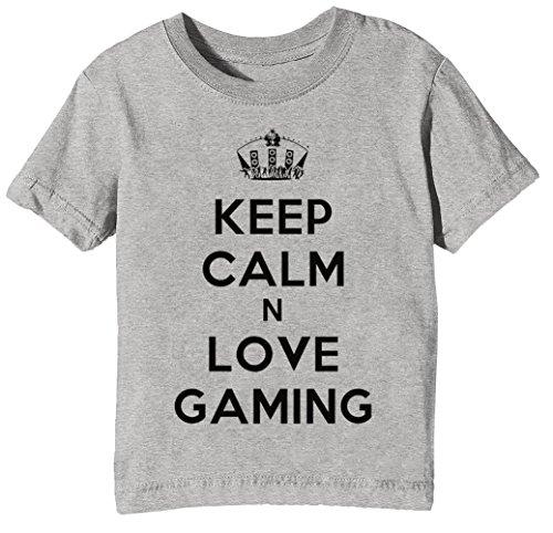 Keep Calm N Love Gaming Kinder Unisex Jungen Mädchen T-Shirt Rundhals Grau Kurzarm Größe XL Kids Boys Girls Grey X-Large Size XL
