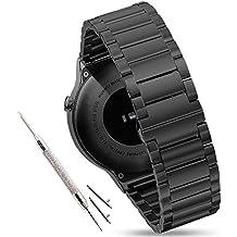 Pinhen 18mm 20mm 22mm Reemplazo liberación rápida Correa de reloj silicona acero inoxidable hebilla pulsera para Huawei Gear S2 MOTO 360 Pebble Time LG G Watch Smart Watch (Black, 22MM Stainless Steel)
