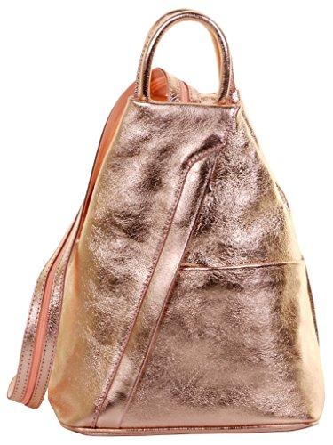 Primo Sacchi ® Italienisch Leder Metallic Rose Gold Top Griff Schultertasche Rucksack Rucksack. Inklusive Markenschutz-Aufbewahrungstasche
