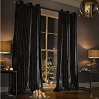 """Kylie Minogue Iliana Black Lined Velvet 66"""" X 90"""" - 168cm X 229cm Ring Top Curtains from Kylie Minogue"""