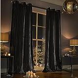"""Kylie Minogue Iliana 66""""x 54–de terciopelo negro con forro 168cm x 137cm con anillas cortinas"""
