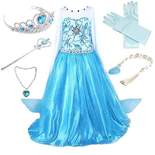 Anbelarui Mädchen Prinzessin Kleid Cosplay Kostüm Set aus Diadem, Handschuhe, Zauberstab,Perücke,Halskette (110 (Körpergröße 110cm), #01 Kleid&Zubehör)