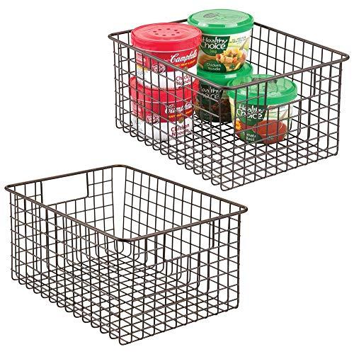mDesign 2er-set Allzweckkorb aus Metalldraht - flexibler Aufbewahrungskorb für die Küche, Vorratskammer etc. - großer und universeller Drahtkorb mit Griffen - bronzefarben