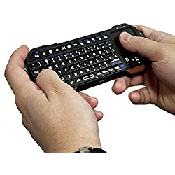 Bluetooth Mini Keyboard Remote + Touchpad for Tablets, Smart TV & Phones, COOPER MAGIC WAND Handheld Universal Portable Backlit Controller w/Mouse Trackpad for Laptop Tablet iPad Smartphone (Black)