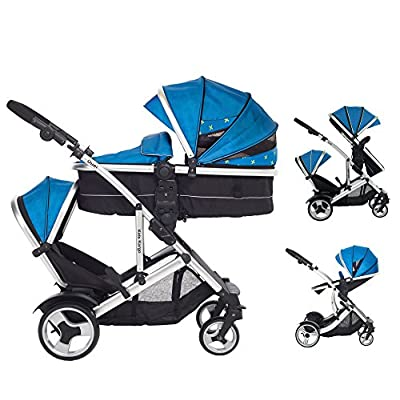 Kids Kargo Duel DS + Carrycot Liner/Mattress Insect net Carrycot Converts to Seat Unit. Also Includes 2 Raincovers,1 Footmuff, Teal, Double Tandem Pushchair