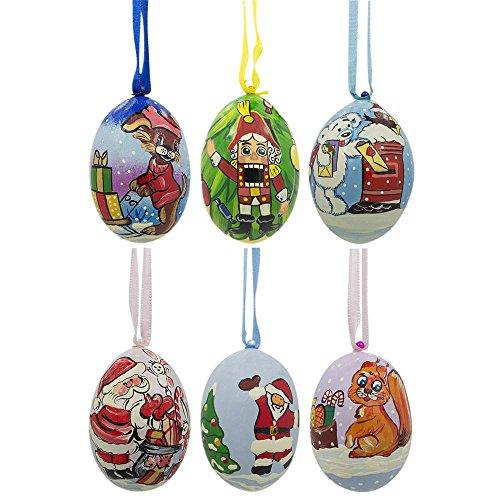7,6cm set di 6Babbo Natale, schiaccianoci, orso, cane e scoiattolo animali in legno ornamenti di Natale