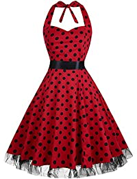 OTEN Vintage Dresses, Women Floral Print 1950's Rockabilly Halter Swing Dress