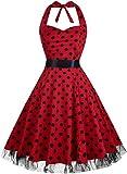 Damen Kleid OTEN 1950er Neckholder Vintage Retro Partykleider Festliche Rockabilly Kleid Cocktailkleid, Roter Tupfen, XXXL