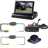 podofo Caméra de Recul Sans Fil 4.3pouces Pliable LCD Écran Moniteur Radar de Recul Kit de Système de Recul Visuel Aide au Stationnement