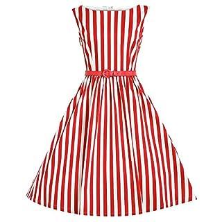 Babyonline Damen Ohne Arm Freizeit Knielang Tanzkleid Cocktailkleid Abendkleid Partykleid Faltenrock Vintage Rockabilly Hausfrau Swing Kleid Rot M