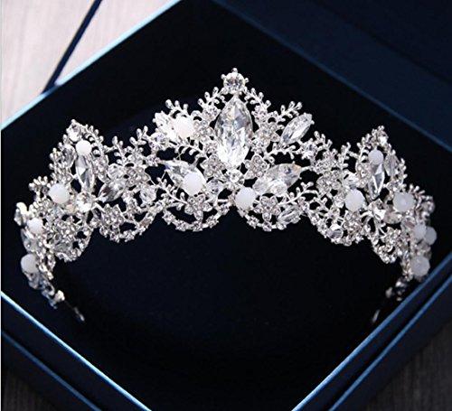 Kristall Krone Braut Strasssteine Perlen Haar Schmuck Frau Handgefertigt Hochzeit Feier Silberweiß (Braut-kristall Perle Halskette)