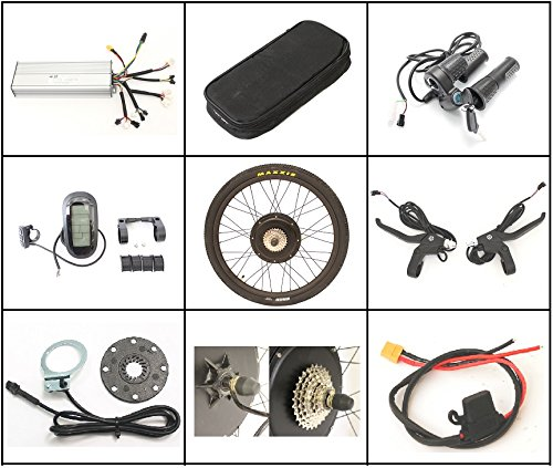 "51yT6CFY7yL - HalloMotor ebike 48V 1500W 26"" Rear Wheel Conversion Kits + 48V 14.5AH Panasonic Cell Tiger Shark Frame Case Battery with 5A Charger"