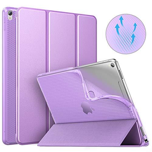 MoKo Schutzhülle Kompatibel mit New iPad Air 3 2019(3rd Generation 10.5 inch)/iPad Pro 10.5 2017, Auto Wake/Sleep Smart Trifold Ständer Transluzente TPU Rückseite Tablet Hülle - Violett (Klar Generation 3rd Ipad)