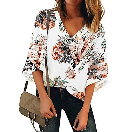 (LEXUPE Damen V-Ausschnitt Print Mesh Panel Bluse 3/4 Bell Sleeve Loose Top Shirt V-Ausschnitt Mit V-Ausschnitt FüR Frauen)