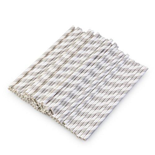 pier Strohhalme Gestreift Grau Weiß - 100 Stück (Weiße Trinkhalme)