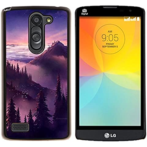 Puesta de sol salida del sol Montañas Árboles- Metal de aluminio y de plástico duro Caja del teléfono - Negro - LG L Prime / L Prime Dual Chip