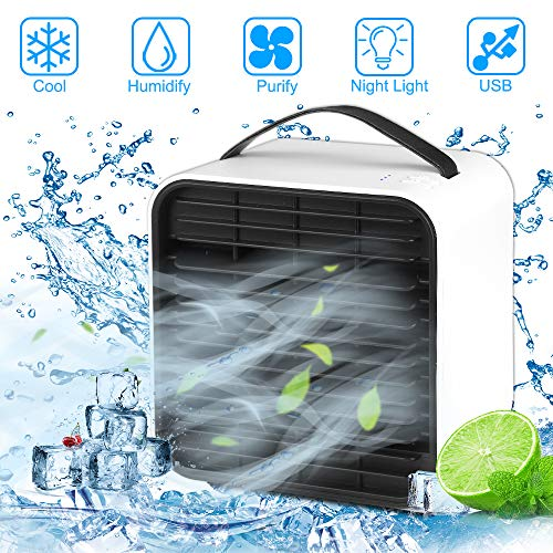 Mini Luftkühler, Nasharia Mobile Klimageräte Mini klimaanlage Ventilator Air Cooler mit USB und Nachtlichtmodus, Raumluftkühler, sehr geeignet für Büro | Camping | zu Hause