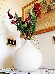 Idea Regalo - Vaso Design Moderno Decorativo Matrimonio da Interno Vetro Fiori Bianco Opaco Rotondo Sfera Natalizio Grande Arredo Centrotavola Camera da Letto Tavolo | Natuzzi Design Italiano | 21 x 21 cm