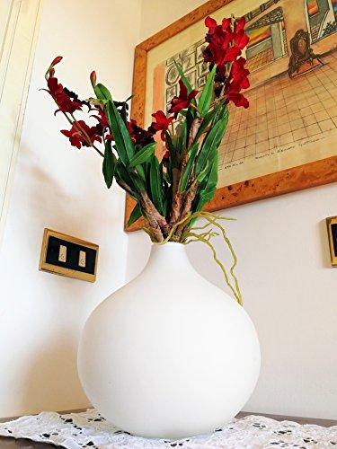 Jarrón de Diseño Moderno de Interior Vidrio Flores Blanco Opaco Redondo Esfera de Navidad Grande Almacenaje Centro de Mesa Habitación Mesa | Natuzzi de Diseño Italiano | 21 x 21 cm