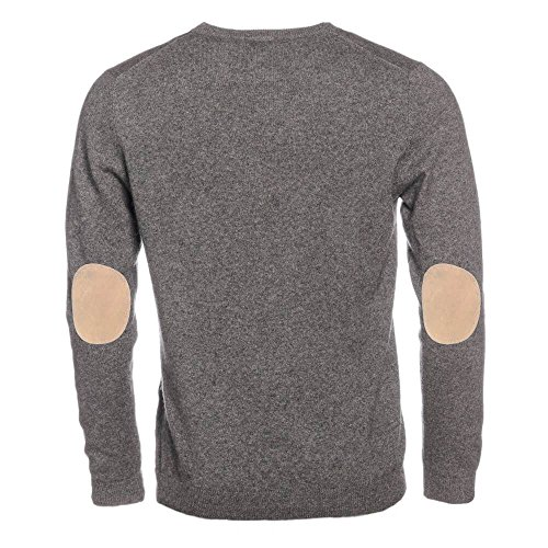 ALLBOW Cosy, Grauer Rundhals Pullover mit Ellenbogen Flicken, Kaschmir Sweatshirt mit Patches Beige