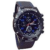 Sport orologio da polso, FEITONG quarzo orologio uomo militare orologi in silicone moda ore (Blu)