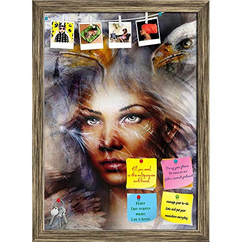 Artzfolio Woman With A Flying Eagle Printed Bulletin Board Notice Pin Board | Antique Golden Frame 16 X 22.3Inch