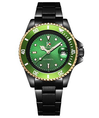 AOKULASIC Mens Automatic Mechanical Stainless Steel Watch with 100Ft Waterproof and Classic Date Displayer. (Green)