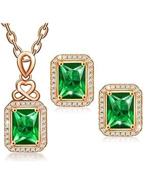MARENJA Fashion Schmuck Set Damen mit Grün Quadrat Anhänger Kette Ohrringe Rosé Vergoldet Schmuck mit Kristall