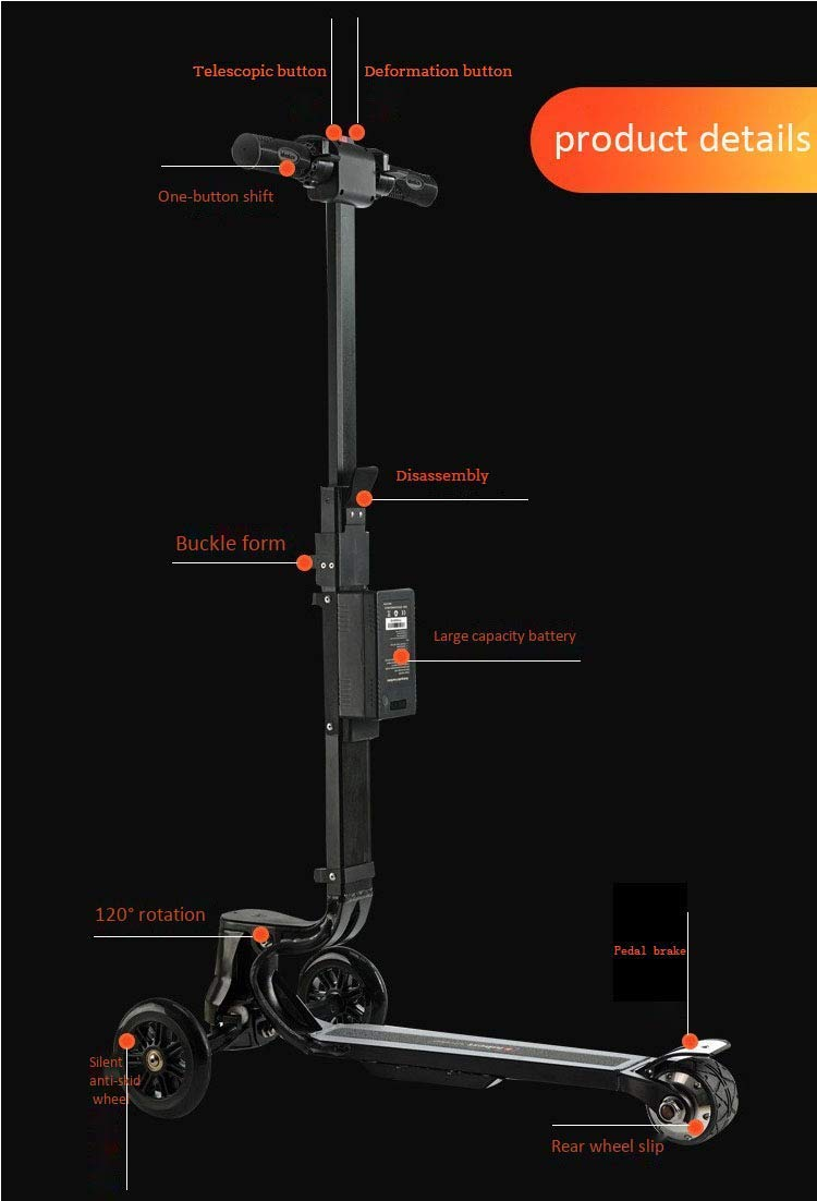 DBSCD Foldable Electric Scooter Telescopic Trolley Luggage, 12km Full  Battery Life, 360 Rotation, Load 120kg, Electric Aircraft Wheeled Chassis  Adult