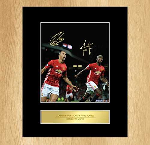 My Prints Paul Pogba Zlatan Ibrahimovic Signed Mounted Photo Display Manchester United