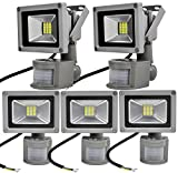 Leetop 5X 20W LED Fluter Floodlight Strahler mit Bewegungsmelder Licht Scheinwerfer Außenstrahler Wandstrahler Aluminium IP65 Wasserdicht AC 85 - 265V Kaltweiß Tageslichtweiß