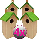 PROHEIM Nistkasten Green 4er Pack 23 x 10 x 10 cm aus FSC Holz Nisthaus perfekt für Meisen Kohlmeisen Kleiber Rotschwänzchen und weitere Vogelarten Vogelnistkasten