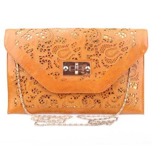 Yuan mutang Women's Handbag Metal Shoulder Strap Leather Messenger Cross Body Bag Purse Tote Bags (Strap Purse Bag)