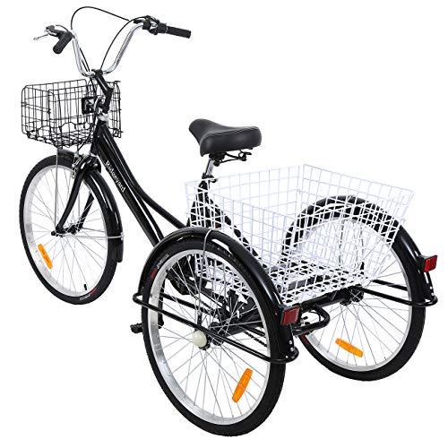 Yonntech 24 Zoll Zahnräder Dreirad für Erwachsene 7 Gänge Erwachsenendreirad Shopping mit Korb 3 Rad Fahrrad für Erwachsene Adult Tricycle Comfort Fahrrad Outdoor Sports City Urban