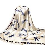 OVERDOSE Damen Libelle Druck Hijab Schals Lange Wrap Schal Damen Seide-Satin Square Schal,A-Beige