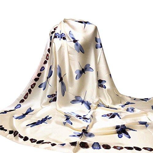 OverDose Damen Libelle Druck Hijab Schals lange Wrap Schal Damen Seide-Satin Square Schal ,A-Beige (Herren-satin-schal)
