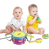 Milya Baby-mini Tamburin Baby-Bildungs-Spielzeug Musikinstrumente Kombination rassel baby, baby Tambourin,sand hammer, kleine Trompete für Kinder 5 in 1