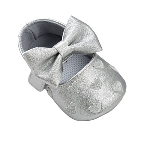 (Auxma Baby schuhe mädchen Bowknot-lederner Schuh-Turnschuh Anti-Rutsch weiches Solekleinkind für 0-18 Monate (11(0-6M), Plata))