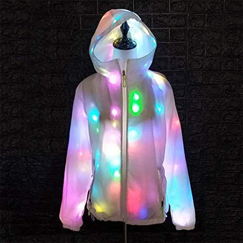 QHWJ LED Leuchten Kleidung, Batterie Licht Hoodies Double-Layer Atmungsaktive Männer Und Frauen Jacke, Halloween Party Hip-Hop Rollenspiel Konzert Kostüm (Hip Hop Tanz Kostüm Männer)