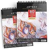 Arteza Zeichenblock — Malblock mit Spiralbindung — Weißes Din A4 Zeichenpapier — 80 Blätter 2er-Set
