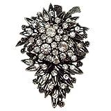 Acosta Broche de Corsage cristal Antique broche florale Vintage (ton argent)