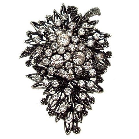 Acosta Broche de Corsage cristal Antique broche florale Vintage (ton