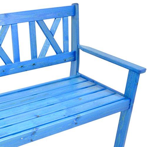 Gartenbank 129 cm Parkbank Sitzbank 3 Sitzer Kiefer Bank Holzbank blau lackiert - 2