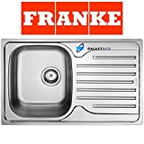Franke 101.0251.296- Fregadero de acero inoxidable, brillo sedoso, 1 cubeta, color gris