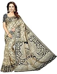 Rani Saahiba Bhagalpuri Printed Art Silk Saree ( SKR3433_Beige - Black )