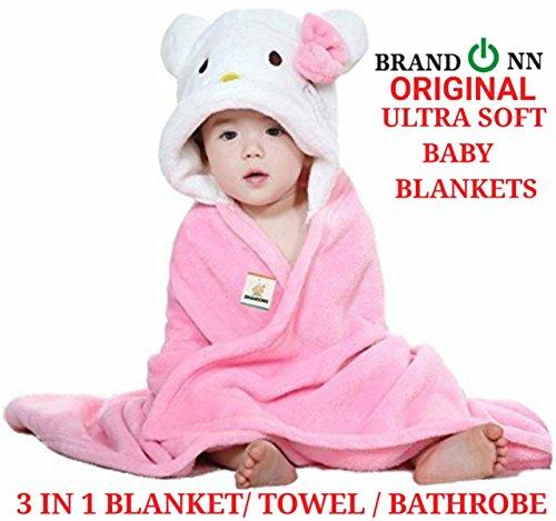 BRANDONN Newborn 3-in-1 Wrapper/Baby Blanket/Bathgown Baby Bath Towel (Pink)