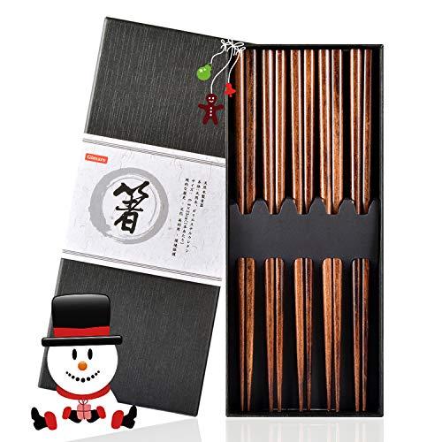 Gimars Essstäbchen,5 Paare Wiederverwendbare Chopsticks,23cm Natürliche Japanische Essstäbchen, Holz Essstäbchen Set für Chinesische Geschirr